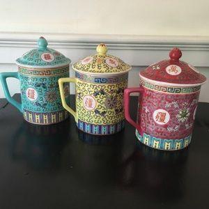 3 Vintage Chinese Tea Mugs
